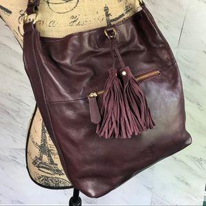 Frye Burgundy Leather Tassel Hobo Shoulder Bag